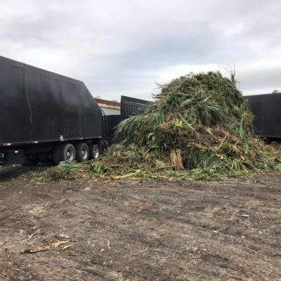 Two trucks tackling this debris pile for one of our commercial customers this morning!
